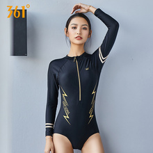цена на 361 Women Sexy Long Sleeve Swimsuit Zipper Black Active Swim Suit Bathing Suit Women One Piece Bikini Girl Sexy Push Up Swimwear