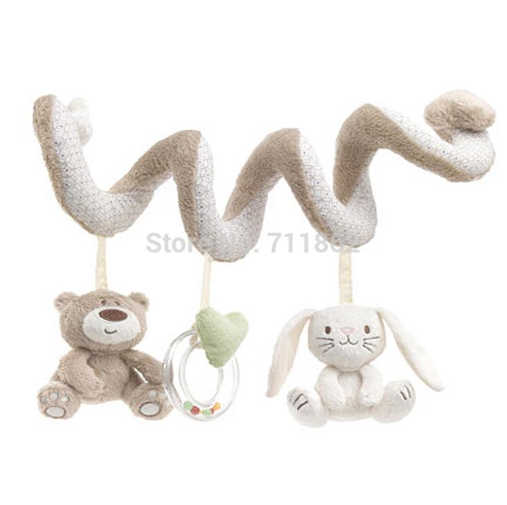 Soft baby bed hanging toy spiral activity rabbit round the for Hanging toy net