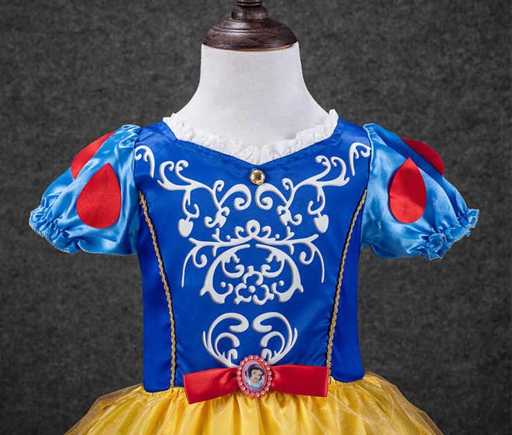 2-11Y 2017 Nova Verão do bebê Vestido Da Menina Branca de Neve Princesa Do Partido Dos Miúdos Vestidos para Meninas Crianças vestidos de Roupas infantis