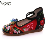 Vintage Embroidery Women Flats Old Beijing Women Shoes Mary Jane Flat Chinese Casual Cloth Plus Size