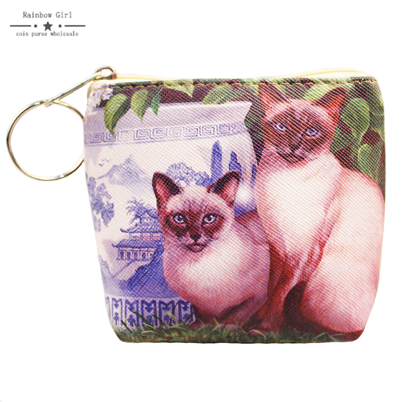New Pu Leather Cat Coin Purse Cute Kids Cartoon Wallet Kawaii Bag Coin Pouch Children Purse Holder Women Coin Wallet