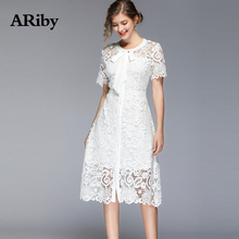Women Dress Round Collar Lace White Slim Dress 2019 New Summer Elegant A-Line Office Lady Hollow Short Sleeves Solid Slim Dress