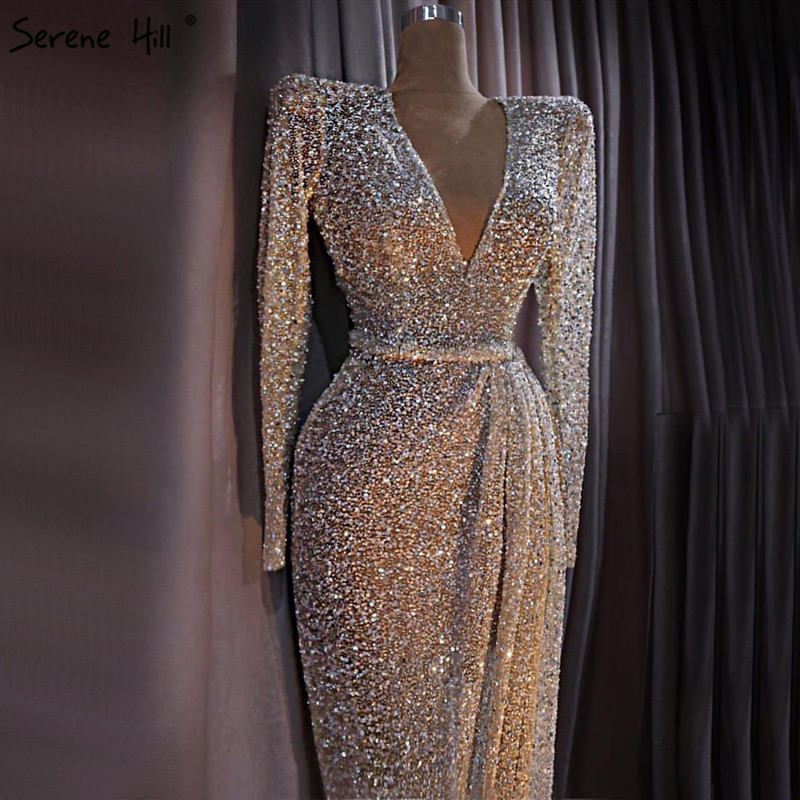 Dubai Luxury Gold Long Sleeves Latest Evening Gown Designs 2019 Beading Sequined Evening Gown Real Photo LA60769 Платье
