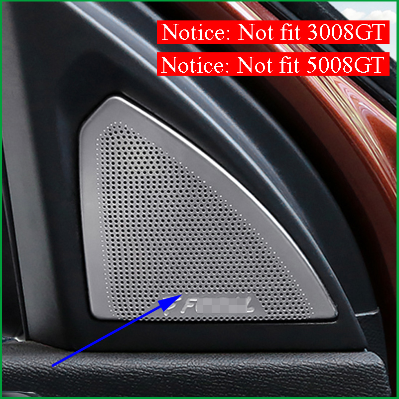 For Peugeot 3008 / 5008 2017 2018 Interior Front A pillar Rear Door Speaker Loudspeaker Horn Cover Sticker Trim Car Accessories