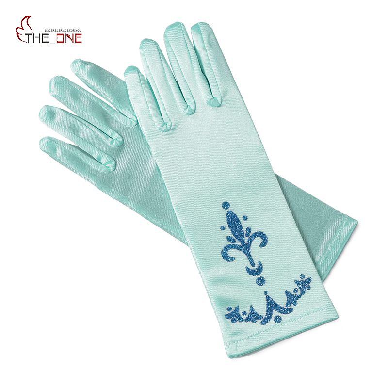MUABABY Girl Elsa Coronation Hansker 6 farger Brocade Long Finger Gloves 24cm Sequins Trykt Cosplay Clothing Girl Party Costume