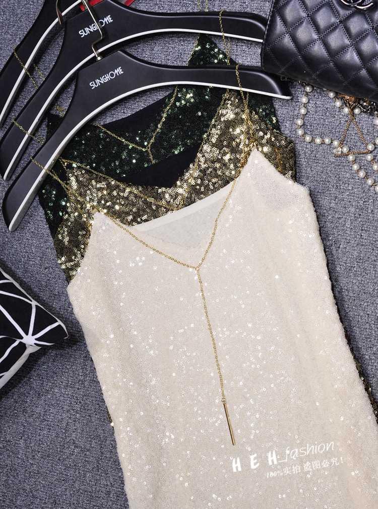 Sexy Clubs femmes paillettes Camis col en v réservoir hauts brillant gilet scène spectacle or chaîne Spaghetti Camisole perles hauts fête