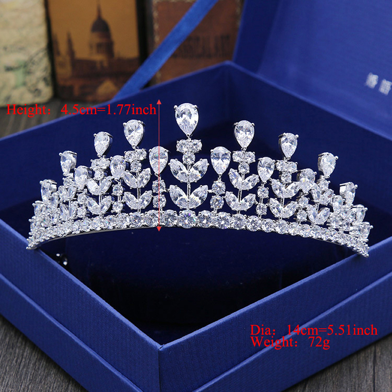 Full AAA CZ Tiara King Crown Wedding Wedding Smycken Micro Pave Party - Märkessmycken - Foto 2