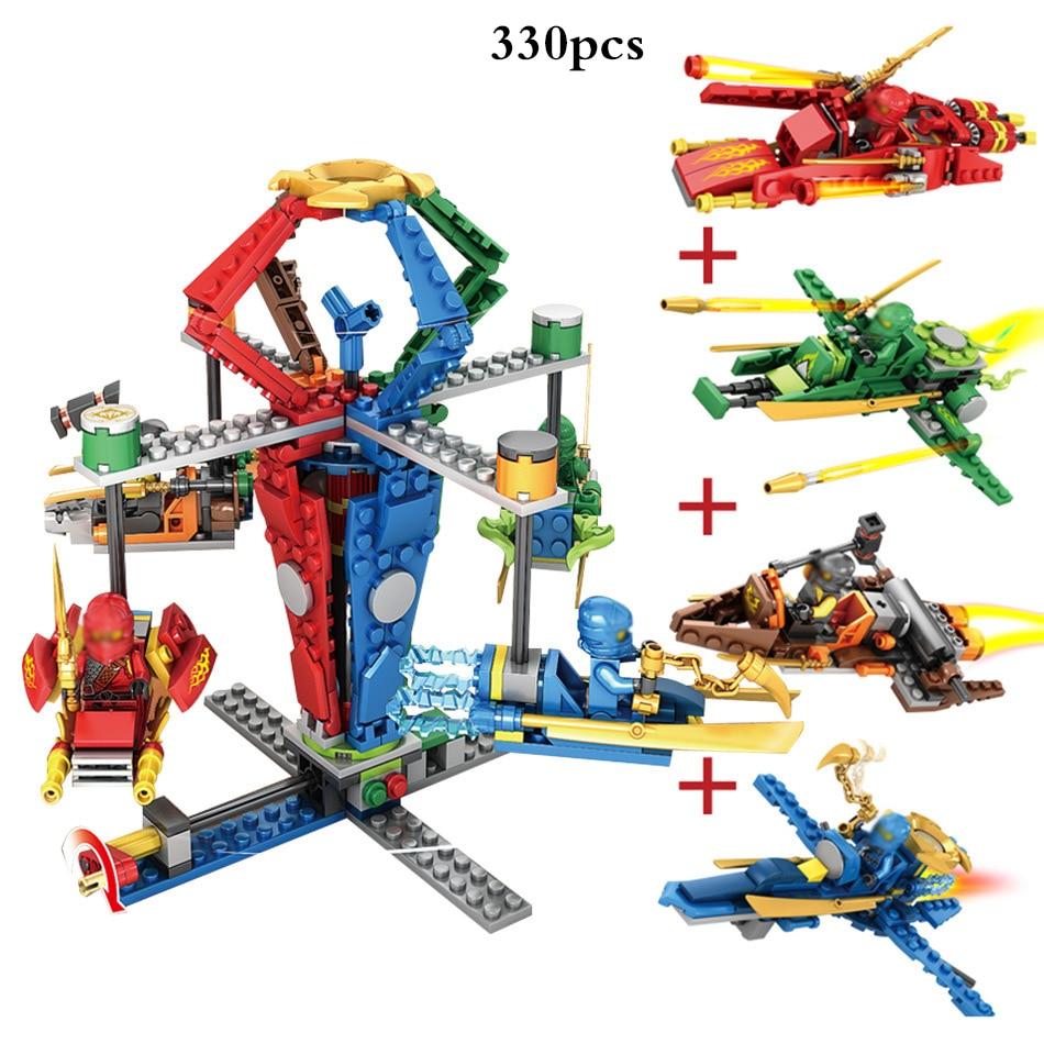 4 in 1 Ninjagoe Action Figures Carousel Model Building Blocks Compatible Legoed City Ninja DIY Bricks Toys For Children Gifts new sy336 ninja building blocks phantom ninja action children bricks compatible legoe figures toys
