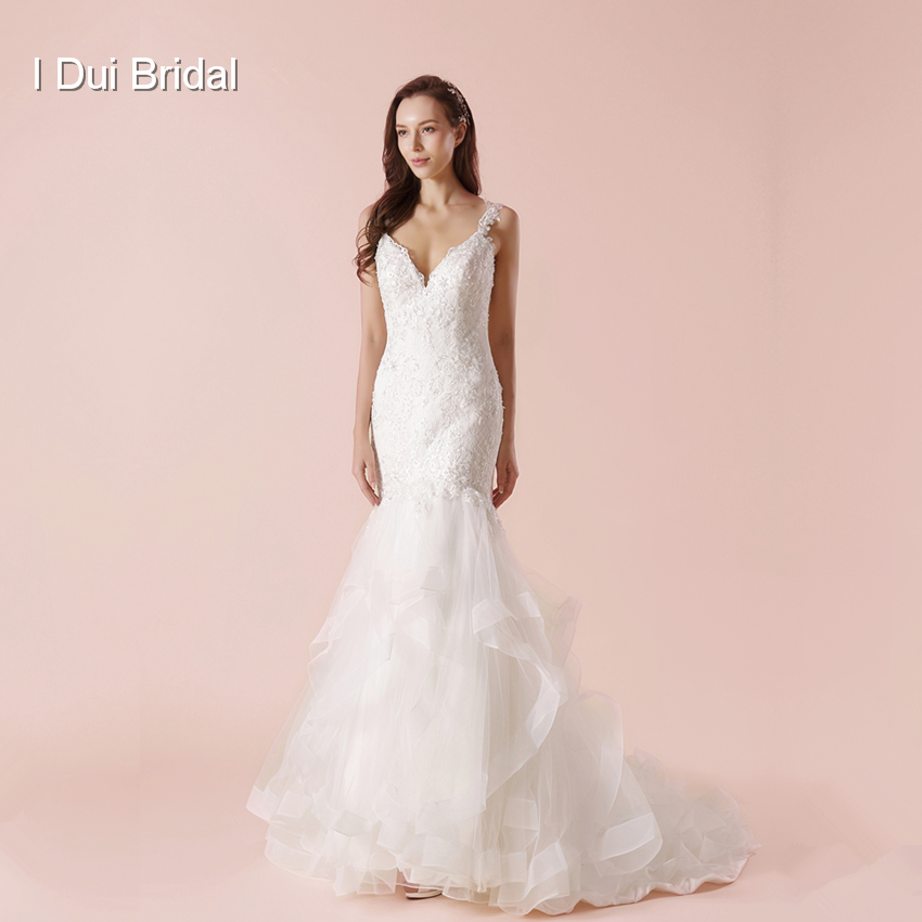Mermaid Wedding Dress Tiered Layer Skirt Lace Appliqued Beaded High Quality Keyhole Back