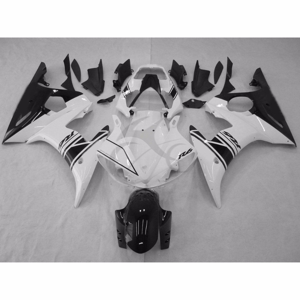 Motorcycle Black White Injection Fairing <font><b>Body</b></font> Work Set <font><b>Kit</b></font> For <font><b>YAMAHA</b></font> YZF-<font><b>R6</b></font> YZF <font><b>R6</b></font> 2005 image