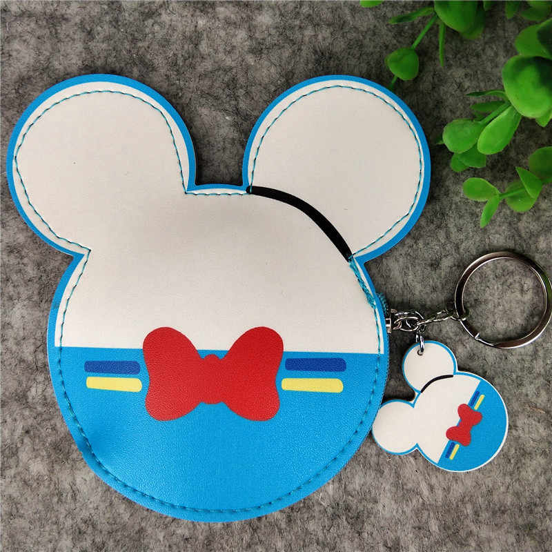 Disney new cartoon Mickey Mouse head shape color printed PU leather coin purse bus card set keychain coin wallet
