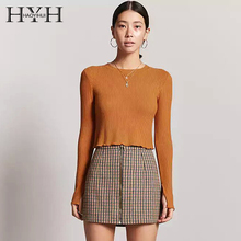 HYH HAOYIHUI 2018 T-shirt Women O-Neck Solid Ribbed Long Sleeve Fashion Office Lady Slit Slim Spring Tops Female