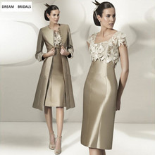 2019 Elegant Mermaid Mother of the Bride Dresses With Jacket Long Sleeves Lace Appliques Ku
