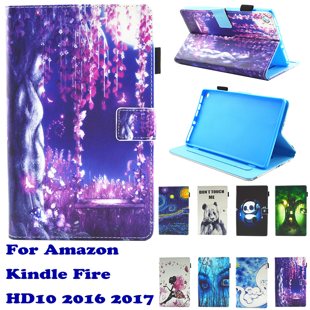 Fashion Pattern Starry Sky Stand Pu Leather Fundas Case For Amazon Kindle Fire HD10 2016 2017 10.0 Tablet Cover Cases Coque