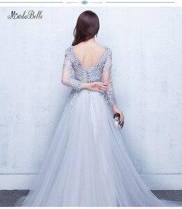 Image 2 - Modabelle 그레이 댄스 파티 드레스 2019 로브 soiree manche longue a 라인 tulle appiques 섹시한 공식 드레스 robe de bal longue