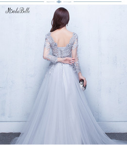 Image 2 - Modabelle szare suknie balowe 2019 szata wieczór Manche Longue A line tiul aplikacje Sexy formalna sukienka De Bal Longue
