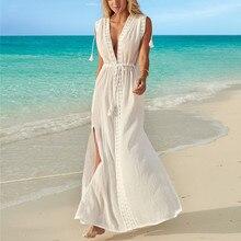 914b3456fc67c Lace Stitching Sexy Deep V-Neck White Beach Dress Women Side Split Robe  Tunic Bikini