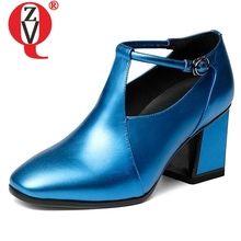 ZVQ women pumps soft genuine leather thick heels fashion modern square toe buckle concise career autumn shoes large size