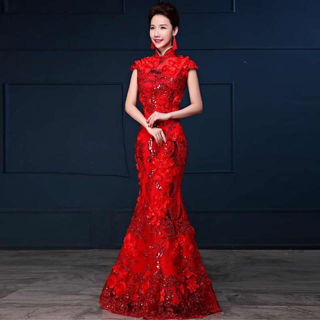 Traditional Chinese Style Bride Red Cheongsam Long Qipao Dress robe ...