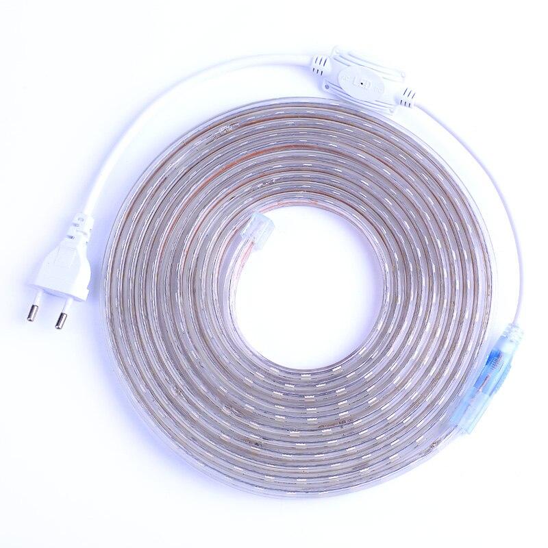 SMD 5050 AC220V Светодиодные ленты гибкий свет 60leds/M Водонепроницаемый LED Клейкие ленты свет с Мощность Разъем 1 м /2 м/3 м/5 м/6 м/8 м/9 м/10 м/15 м/20 м
