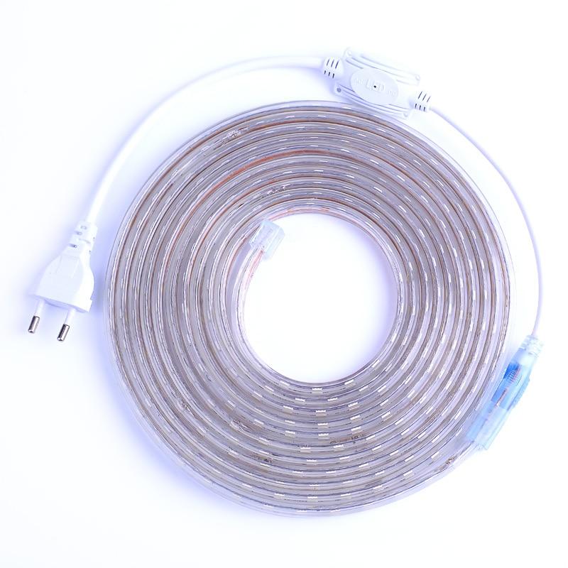 SMD 5050 AC220V LED Strip Flexible Light 60leds/m Waterproof Led Tape LED Light With Power Plug 1M/2M/3M/5M/6M/8M/9M/10M/15M/20M(China)