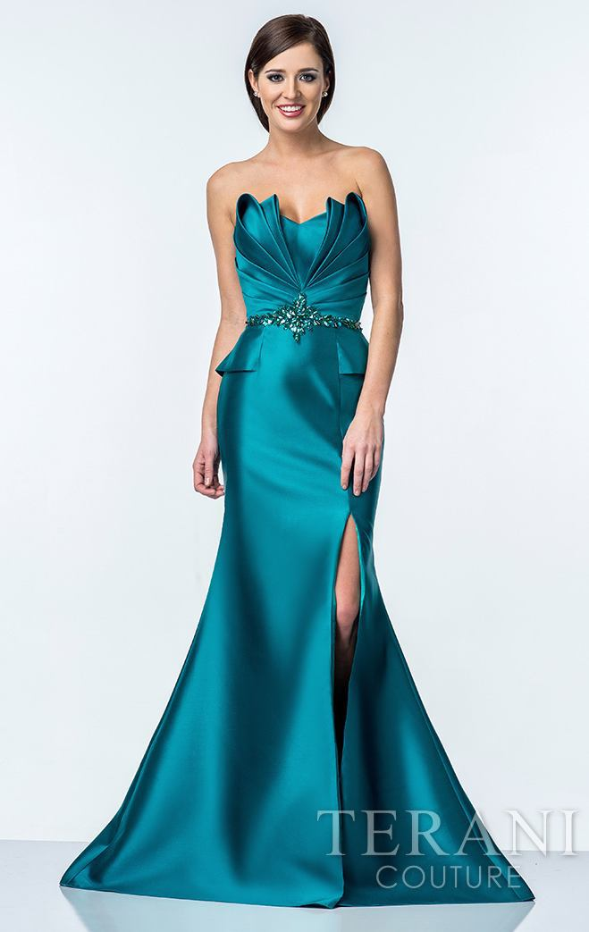 Strapless Mermaid Satin Evening Gown Teal Crystal Embellished ...