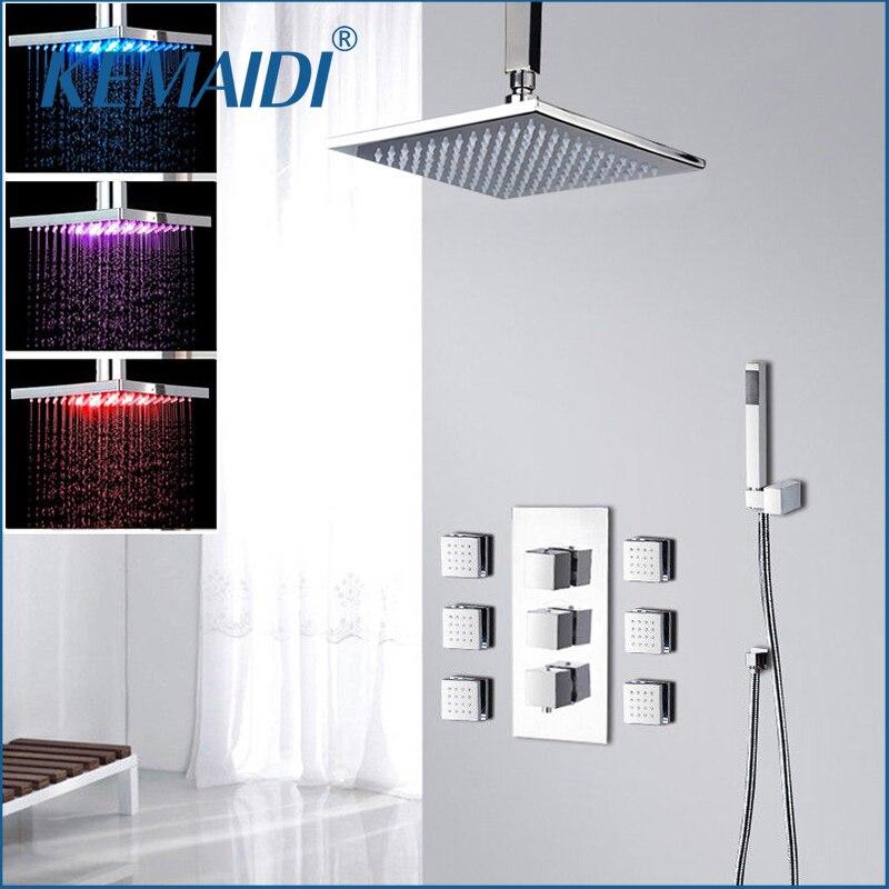 KEMAIDI Ванная комната Душ 8 10 12 16 дюймов светодио дный Chrome Смеситель для душа набор термостатический клапан смесителя w/6 сообщение Джетс набо...