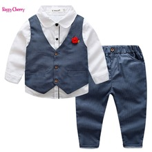 England Style Baby Boys Clothes Sets Long Sleeve Flower Gentleman Vest Suit For Boys Children Clothing Costume For Kids Suits children clothing sets baby kids boy hoodie pure cotton long sleeve streetwear style clothing printing suits boys sweater black