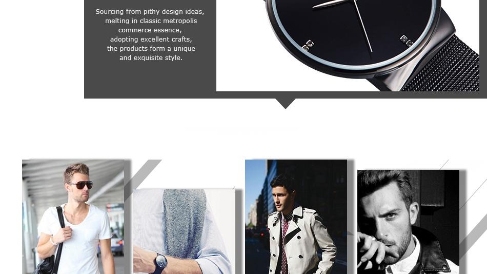 SINOBI Men Quartz Watch Luxury Top Brand Fashion Mesh Delicate Ultra-thin Business Watch Full Stainless Steel Male Wrist Watches 12