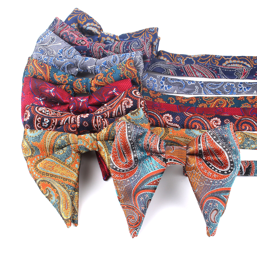 Fashion Paisley Bow Tie For Men Women Classic Big Bowtie For Party Wedding Bowknot Adult Cotton Mens Bowties Cravats Red Tie