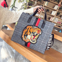 Women Tiger Embroidery Wool Shoulder Bags Luxury Brand Designed Bag Large Female Cossbody Bags Tote Bag Free Shipping