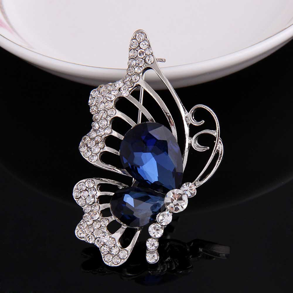 Blue Rhinestone Full Clear Crystal Brooches Cute Animal Butterfly Safety Pins Brooches For Women Bridal Wedding