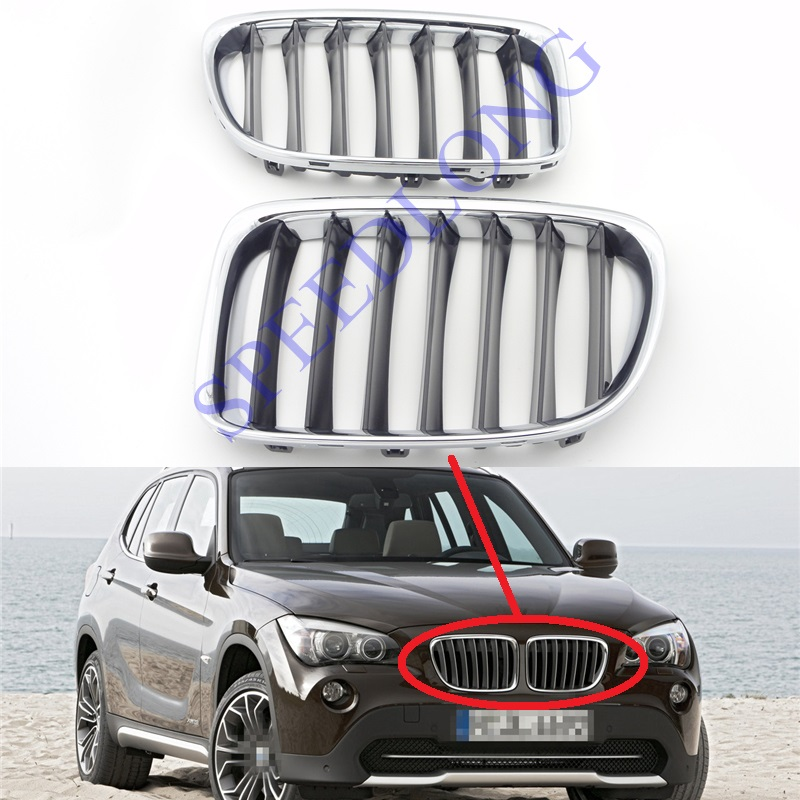 2 Pcs/Pair Front upper hood grille grill insert with chrome frame for BMW X1 Series E84 2010-2012 for bmw 3 series e36 318 328 323 325 front coilover strut camber plate top mount green drift front domlager top upper mount
