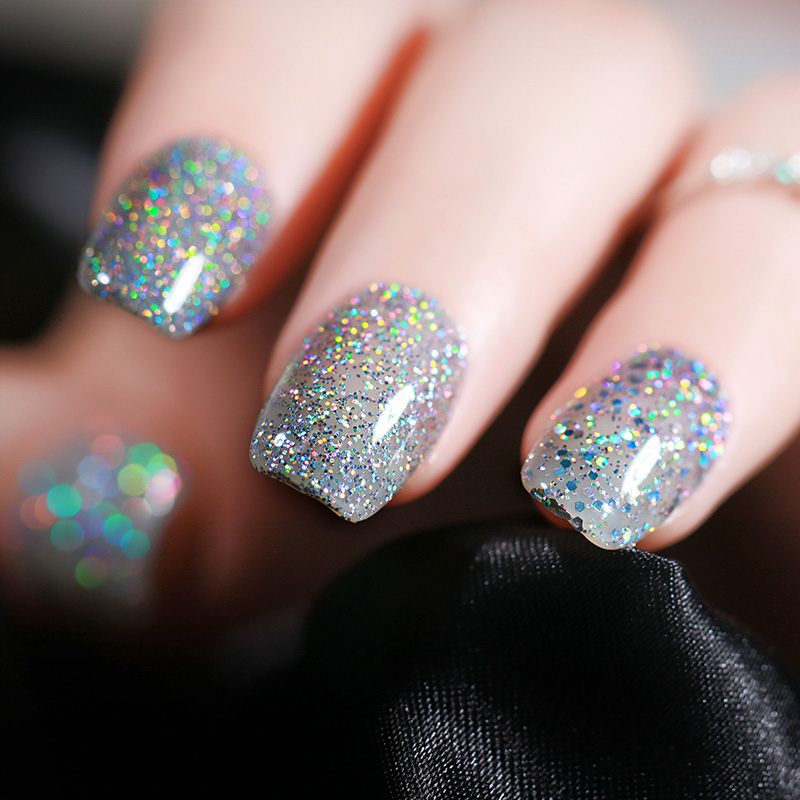 Ur Sugar 7 5ml Silver Holographic Uv Gel Varnish Laser Sequins Sparkle Nail Polish Soak Off Art Lacquer In From Beauty Health On
