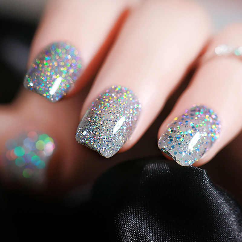 ... UR SUGAR 7.5ml Silver Holographic UV Gel Varnish Laser Sequins Sparkle  Gel Nail Polish Soak 8c43aa66db99