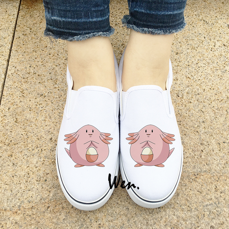 Roller Skate Sneakers >> Wen Design Cute Pokemon Chansey Shoes Slip On Flats Shoes White Black 2 Colors Anime Canvas ...