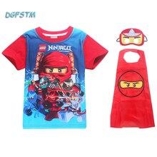 Summer Kids Boys T-shirt Ninja I Have Ninjago Power Cute Printed T Shirt+cape Set Children Clothing Cosplay Costume Sport Shirts