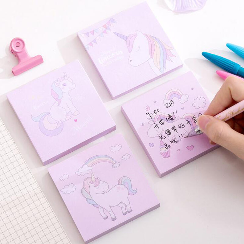 Memo Pads Cute Unicorn Memo Pad Plan Paper Sticky Notes Adhesivas Kawaii Stickers Office Supplies Korea Stationery Page Sticky