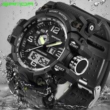 SANDA mens uniforms sports watch top brand luxury famous electronic LED digital male clock Relogio Masculino