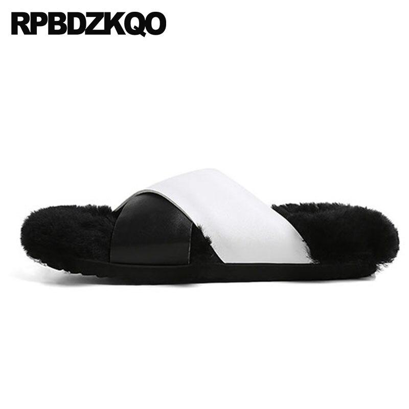 Fur Cuir Designers Peau Diapositives black Gray Coréen 5 Chaussures Pantoufles Réel black Moelleux De Peluche Femmes Luxe Mouton En Laine Hiver White Fourrure Noir Noir Sandales x0v7gq