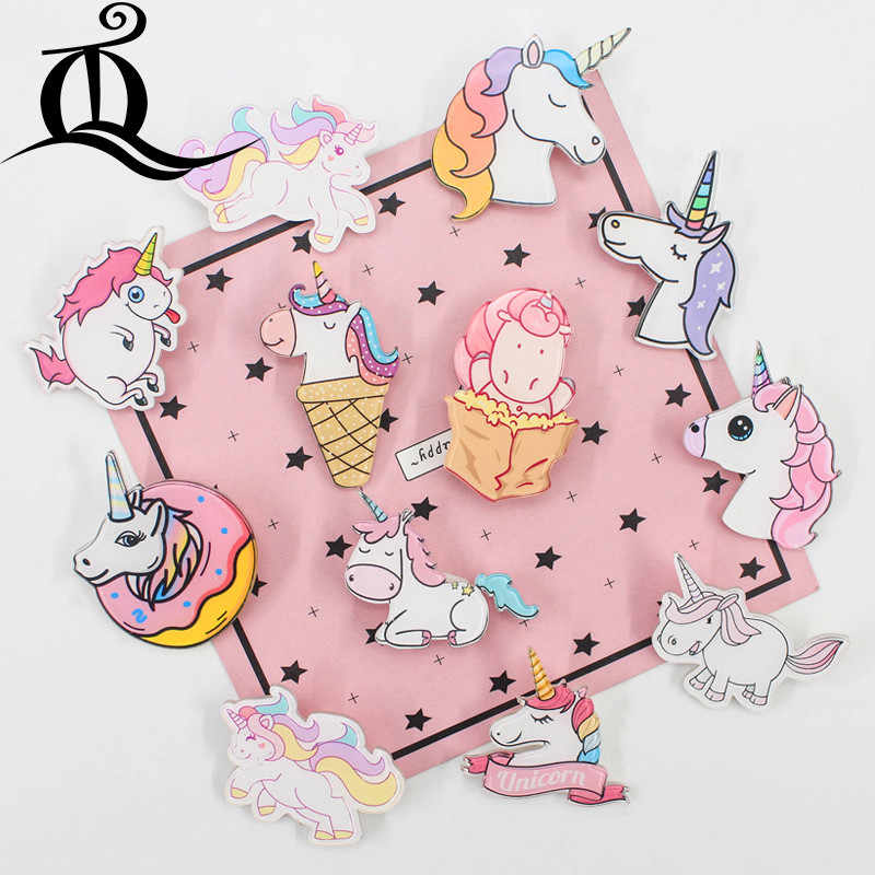 1PCS MIX lovely animal Unicorn Cartoon Icons on The Pin Kawaii Icon Badge on Backpack Badges for Clothing Acrylic Badges Z41
