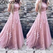Xnxee Women Evening Party Dress 2018 Sleeveless O-neck Sexy Long Dress Women Elegant Lace Dress Summer Maxi Dress S-2XL