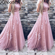 Xnxee Women Evening Party Dress 2018 Sleeveless O-neck Sexy Long Dress Women Elegant Pink Lace Dress Summer Maxi Dress S-2XL