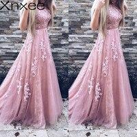 Xnxee Women Evening Party Dress 2018 Sleeveless O neck Sexy Long Dress Women Elegant Pink Lace Dress Summer Maxi Dress S 2XL