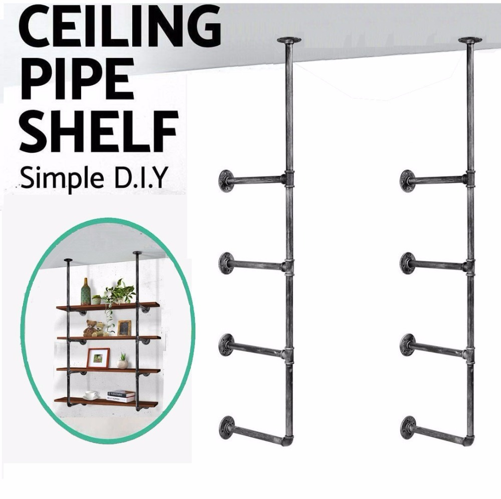 Industrial Retro Wall Mount Iron Pipe Shelf Hung Bracket Diy Storage Shelving Home Decor Bookshelf Wall Shelf A Pair стоимость