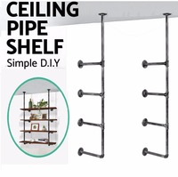 Industrial Retro Wall Mount Iron Pipe Shelf Hung Bracket Diy Storage Shelving Home Decor Bookshelf Wall Shelf A Pair