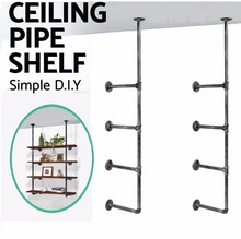 Industrial Retro Wall Mount Iron Pipe Shelf Hung Bracket Diy Storage Shelving Bookshelf A pair of packages