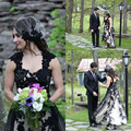 2016 Vintage High Low Wedding Dresses Black and White Short Front Long Back Tulle Sweetheart Plus Size 2016 Spring Bridal Gowns