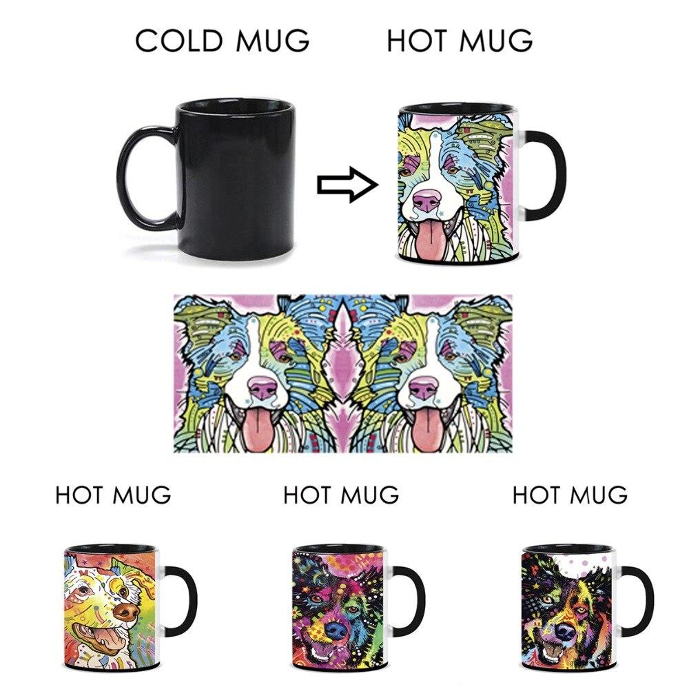 Border Activated Dog Cute Art Collie Mugs Heat Funny Coffee LSVpzGqUM