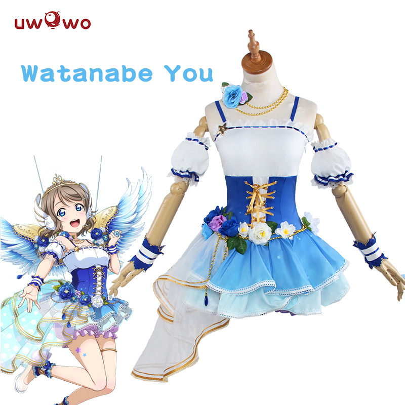 UWOWO Watanabe Vous Cosplay Love Live Soleil Aqours Ange Éveillé Idolâtré Costume Lovelive Aqours Cosplay Watanabe Vous